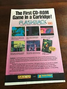 """1993 VINTAGE 6.5""""x10"""" PRINT AD FOR SEGA GENESIS FLASHBACK THE QUEST FOR IDENTITY"""