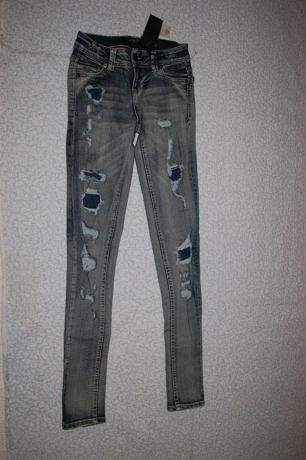Junior Womens SUPER FADED SKINNY JEANS Distressed PATCHED HOLES Stretchy 1   2