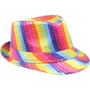 088581fe RAINBOW Men Women Fedora Hat Trilby Cuban Style Upturn Short Brim ...