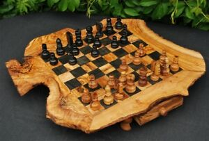 Olive-wood-chess-board-Natural-Chessboard-with-free-pieces-CHESS-GAME-SET
