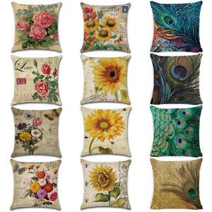 Am-Vintage-Flower-Peacock-Feather-Linen-Pillow-Case-Cushion-Cover-Sofa-Home-Dec