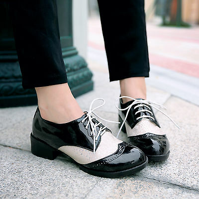 womens patent preppy classical oxfords punk lace Up mesh flat shoe Sale US4-11