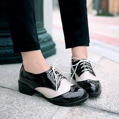 Sale US4-11 womens patent preppy classical oxfords punk lace Up mesh flat shoe