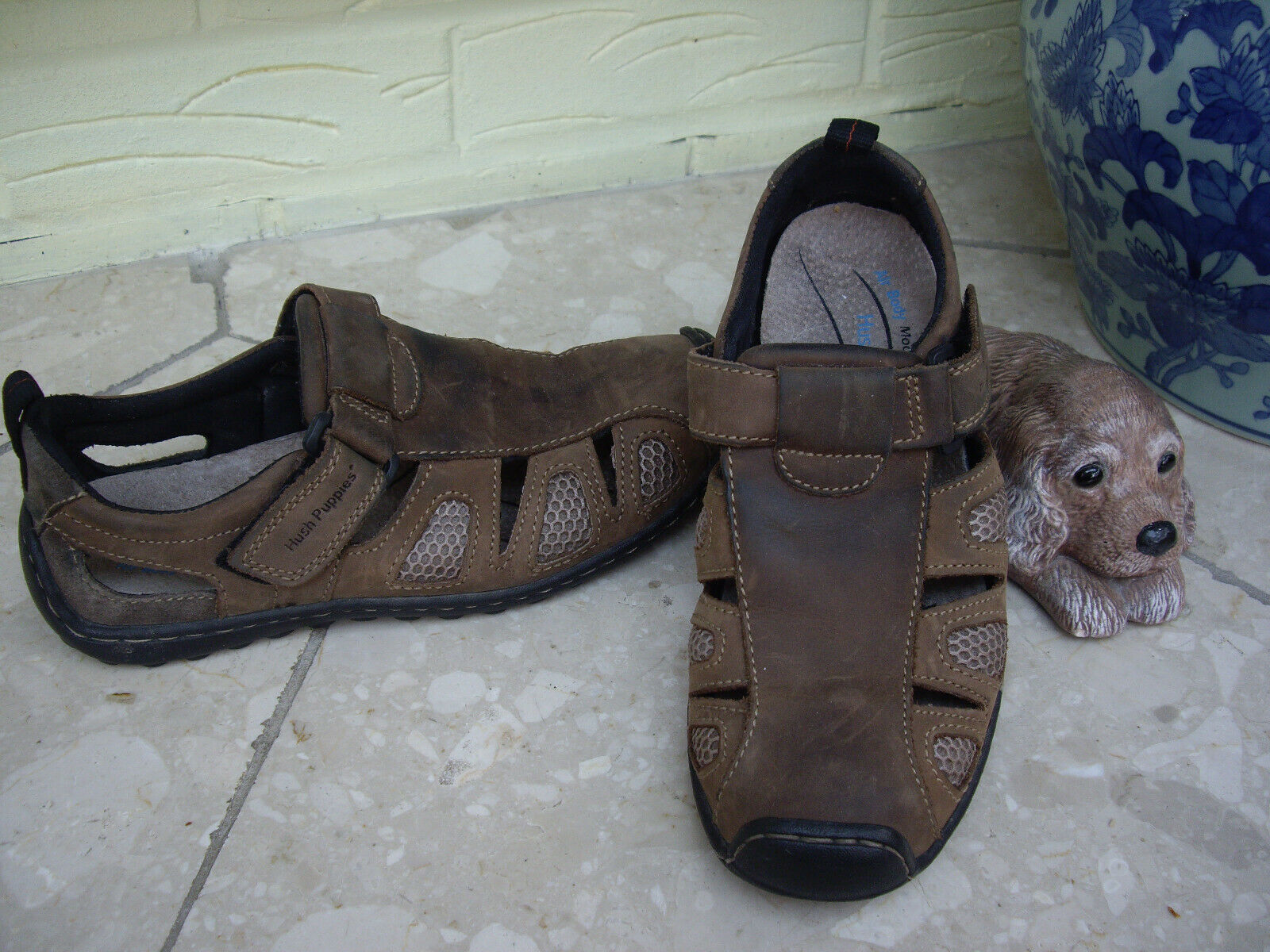 HUSH PUPPIES BROWN NUBUCK WAXED LEATHER SANDALS HUSH PUPPIES FISHERMEN SANDALS 6