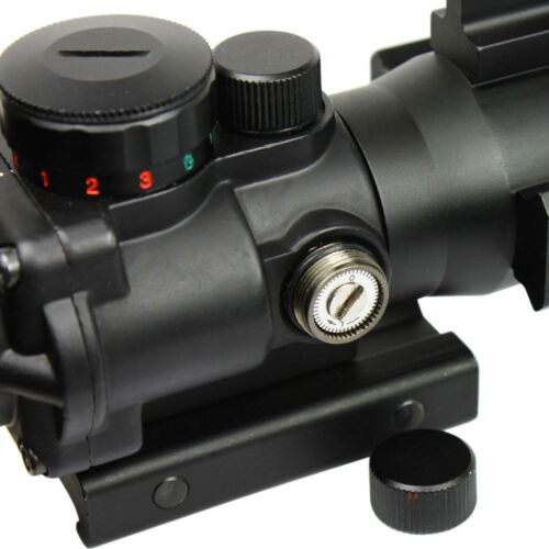 Hunting 4x32 Rifle Scope Red//Green//Blue Illuminated Chevron Reticle Lasers