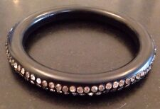 Vintage Rhinestone Embedded Plastic Bangle Bracelet Appears To Be Signed