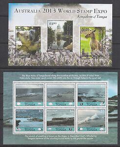 Tonga Sc 1201, 1202 MNH. 2013 issues: Australia 2013 PHILEX +  Blow Holes & Fish