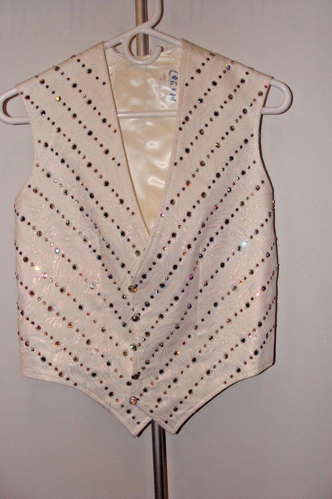 Weiß Silk Button up Vest with Rhinestones prom formal costume dress attire