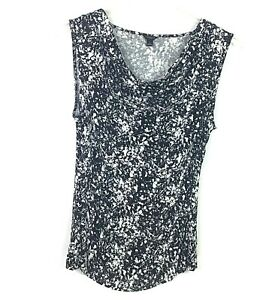Ann-Taylor-Womens-Size-Large-Black-Abstract-Print-Scoop-Neck-Cap-Sleeve-Blouse