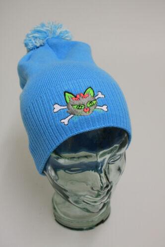 Warme Trend Winter Muetze blau mit Bommel unisex coole Stickerei Katze 50203
