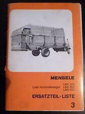Mengele Ladewagen LAW325 + LAW350 + LAW400 Ersatzteilliste