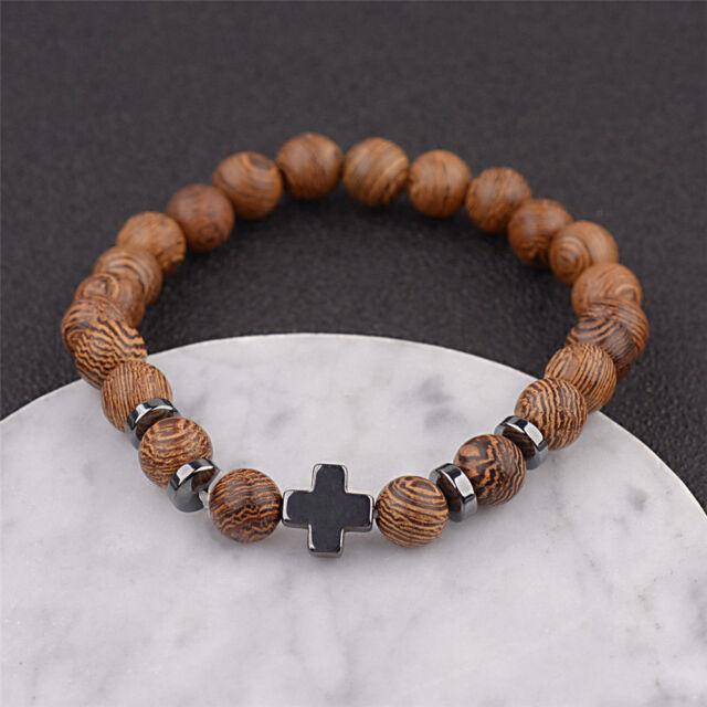 Hot Hemae Men Natural Wood Beads Cross Bracelets Bead Bracelet Yoga Jewelry
