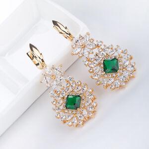 Ladies-Bridal-Long-Earrings-Yellow-Gold-Emerald-Christmas-Gift-Wedding-Earrings
