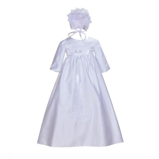 e185121a7 Tradicional Raso Blanco Largo Bautizo Vestido con Gorro 0 3 6 9 12 Meses