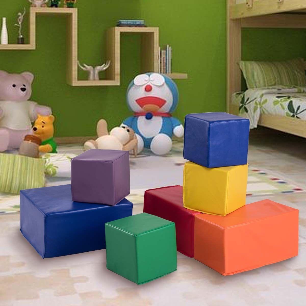 7PC Kinder PU Foam groß Building weich Blocks Mat Farbeful Play Room Fort haus Set