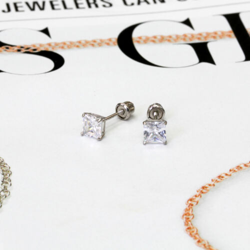 Details about  /Women 14K White Gold 4mm Cubic CZ Basket Set Solitaire Screwback Stud Earrings