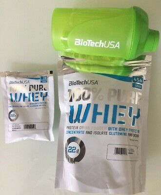 (25,31€/kg) Biotech Usa 100% Pure Whey Protein 454g+bonus Shaker