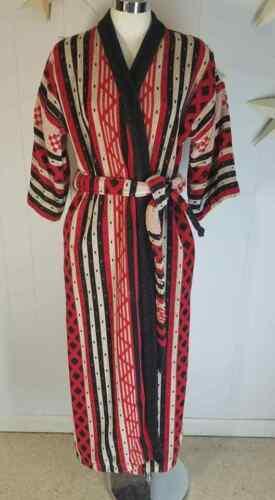 Vintage Cotton Terry Cloth Robe Brazil Red Black C