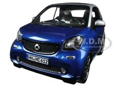 2015 SMART FOR TWO CABRIO BLUE/SILVER 1/18 DIECAST MODEL CAR BY NOREV 183438