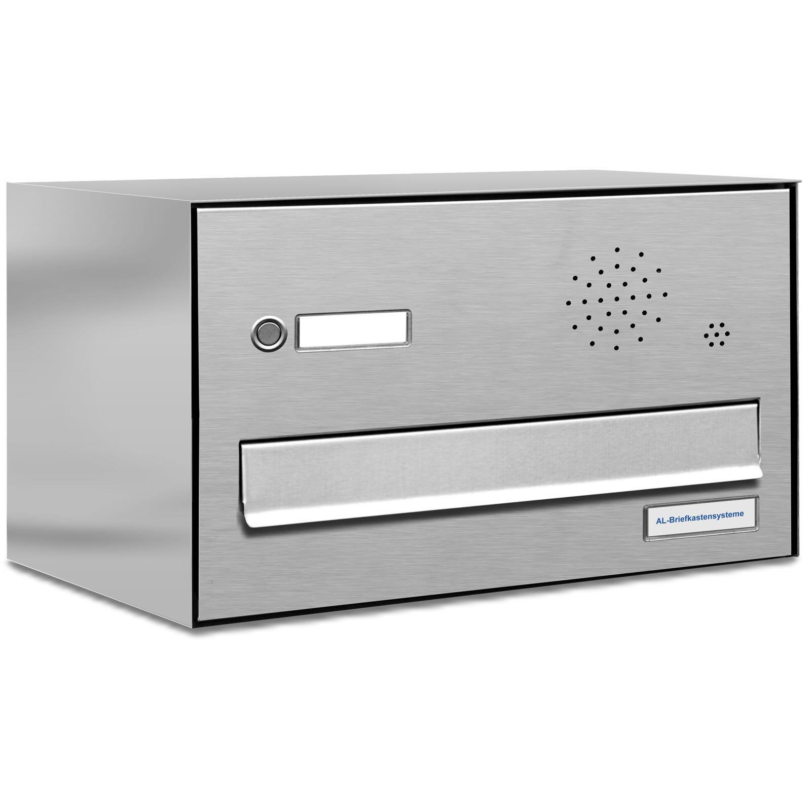 1er Premium V2A Zaun Durchwurf Briefkasten mit Klingel 1 Fach Postkasten A4