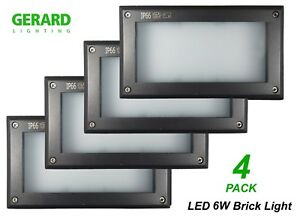 4-x-6W-LED-Charcoal-Grey-Recessed-Brick-Wall-Lights-Outdoor-225-x-125mm-IP66
