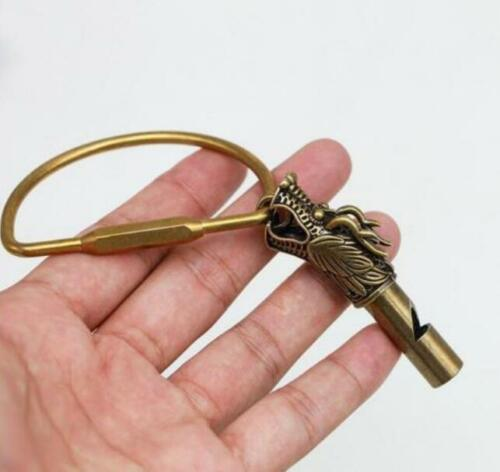 Chinese Collection archaize brass dragon head whistle key ring