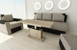 Details zu Couchtisch Sonoma Eiche ausziehbar Wohnzimmer design modern  edler Sofatisch
