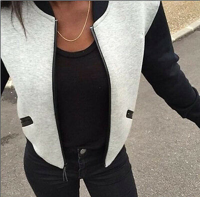 Fashion Ladies Long Sleeve Blazer Jacket Women Vintage Zip Up Biker Coat Outwear