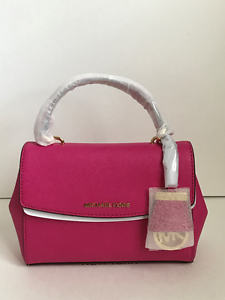 67f6d840529c New Michael Kors Raspberry Pink Mini XS Ava Saffiano Leather Satchel ...