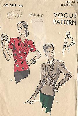 1940s WW2 VOGUE Vintage VOGUE Sewing Pattern B32 BLOUSE (1544)