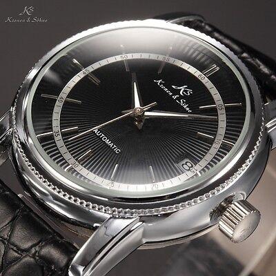Ks Automatic Mechanical Mens Date Fluorescent Hands Black Dial Wrist Watch