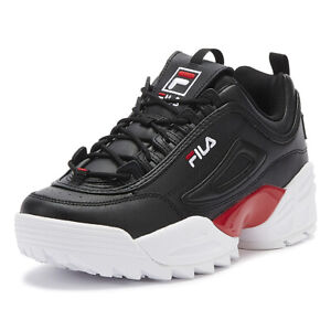 fila disruptor ii lab mens black / red / white trainers