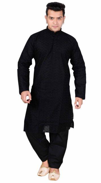 81903d1165 Men Kurta Shalwar Men's Salwar Kameez Cotton Black Indian Sherwani London  UK 728 Black 44 (xxl) for sale online | eBay