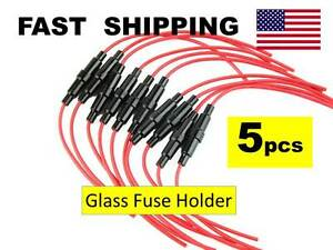 x5 AGC Glass Fuse Holder Inline Screw Type for 6X30mm Fuse 20AWG Wire Cable
