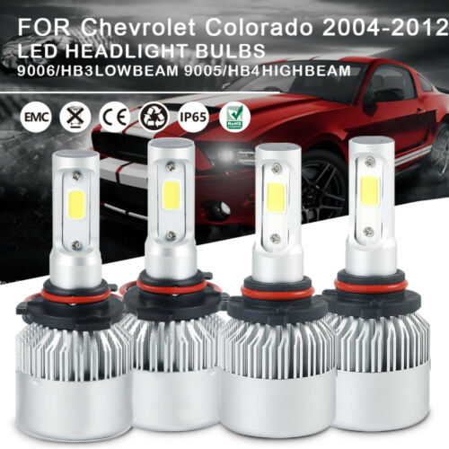 4pc LED Headlight Bulbs 9005 9006 High Low Beam For Chevrolet Colorado 2004-2012