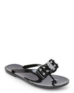 6bd09c17d2ef Image is loading KATE-SPADE-Black-Francy-Bow-Embellished-Thong-Sandals-