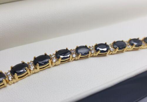 Black Sapphire tennis bracelet in luxury wooden Bracelet box gift idea Fantastic