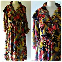 VINTAGE 70S 80S ABSTRACT RUFFLED BOHO DRESS UK 10 12