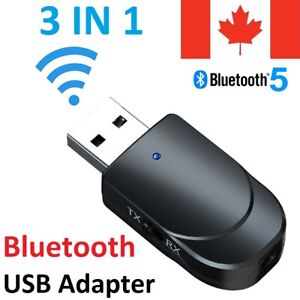 USB Bluetooth 5.0 Audio Receiver Transmitter 3 in 1 Wireless Adapter Dongle Aux