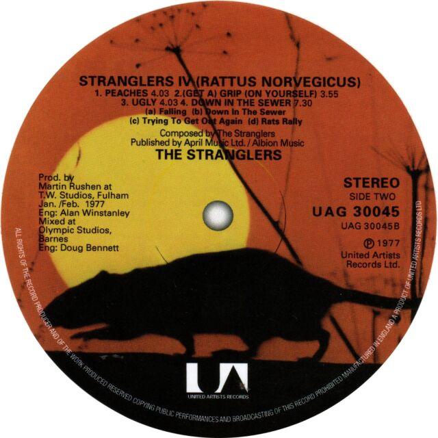 The Stranglers. Rattus Norvegicus record label vinyl sticker. Punk