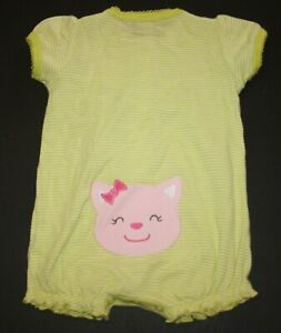 NWT Carter/'s Baby Girl Cat Kitty Romper Gray 3,18,24 months
