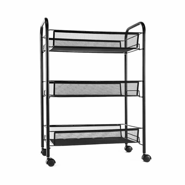 Superbe Mesh Storage Rolling Cart W/ 3 Tier Shelf Trolley Home Office Organizer  Black