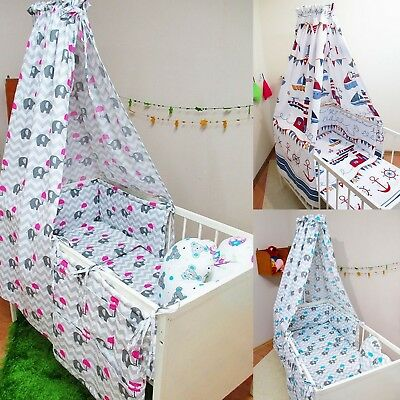 9 Pcs Baby Nursery Bedding Set CANOPY//Bumper fit Cot 120x60 or Cot Bed 140x70cm