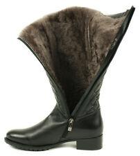 New Ladies Italian Fur Knee High Black Low Heel Leather Boots Size 4,5,8