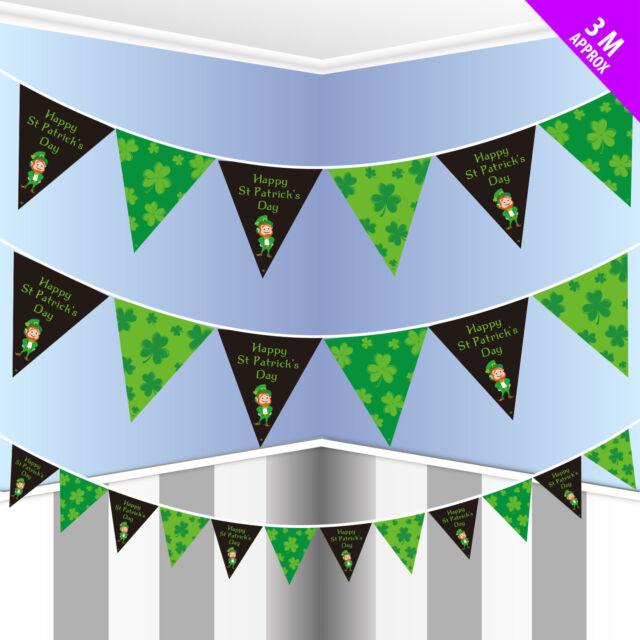 80ft Happy st Patricks Day & Trèfles Bruant Drapeaux Irlandais Décoration de