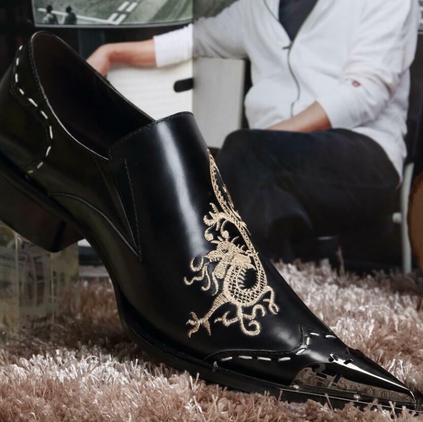 Men Wedding Metal Pointed Toe Formal Business Real Leather Dress scarpe Hot lit01