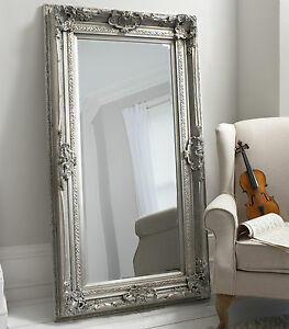 Valois Large Full Length shabby chic Silver Wall Leaner Floor Mirror ...