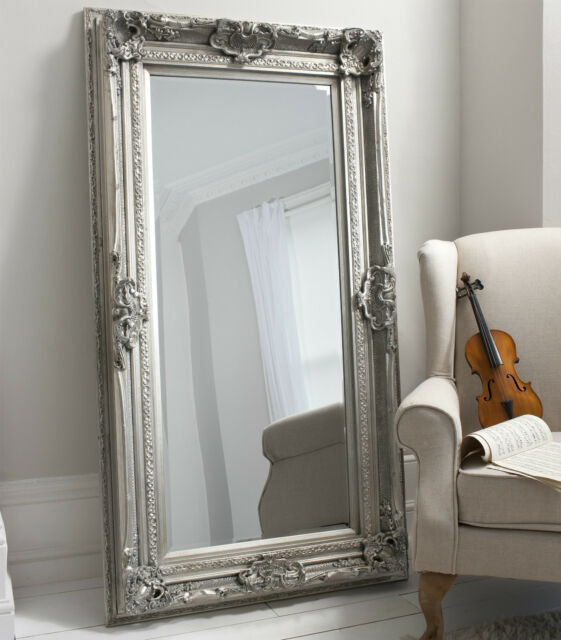 valois large full length shabby chic silver wall leaner floor mirror 183 x 97cm for sale online. Black Bedroom Furniture Sets. Home Design Ideas