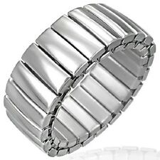 Stainless Steel Panther Link Stretchable Slight Dome Band Ring b17