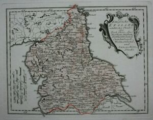 NORTH-OF-ENGLAND-original-antique-map-YORKSHIRE-LANCASHIRE-Von-Reilly-c-1790